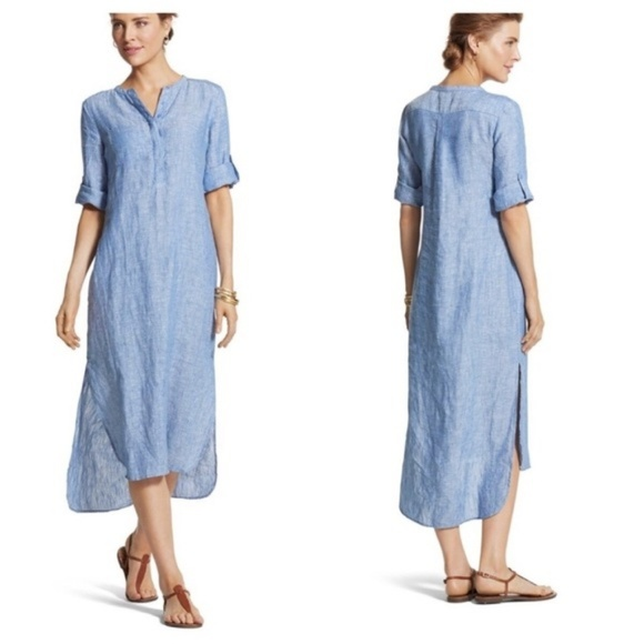 c9ba8179cc Chico s Dresses   Skirts - Chico s Lindy Cross-dye Linen Shirtdress medium